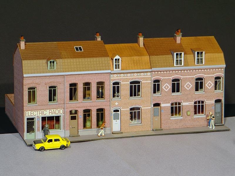 alignement de 4 maisons du nord r gions compagnies maquettes en carton imprim pr d coup. Black Bedroom Furniture Sets. Home Design Ideas