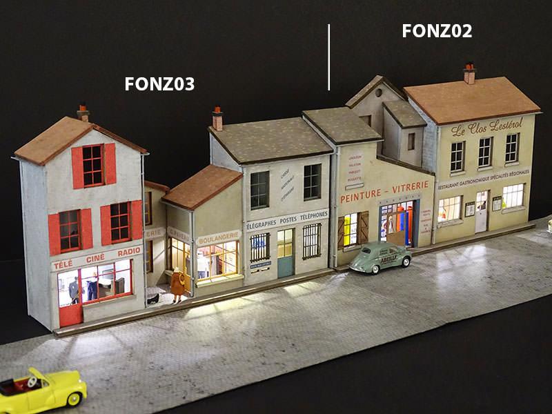 Fond de d cor en relief 3 maisons avec poste r gions for Laser deco maison