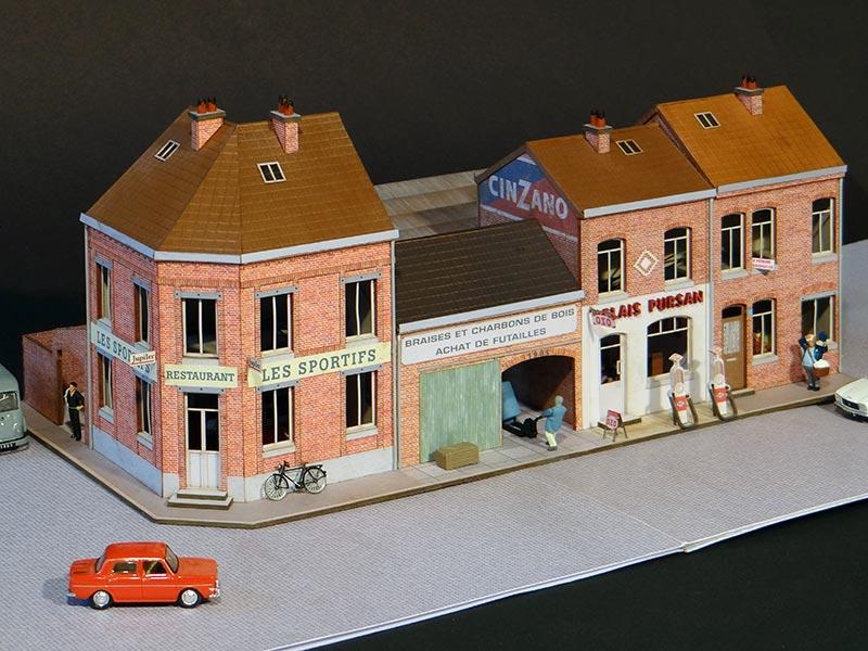 alignement de 4 maisons du nord avec angle gauche r gions compagnies maquettes en carton. Black Bedroom Furniture Sets. Home Design Ideas